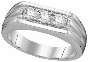 0.50 ct Diamond Fashion Men Band--Presenting a remarkable design and unsurpassed brilliance, this 10 kt white gold men's band is unparalleled with handsome elegance and sweet thoughts of love. Totaling a brilliant 0.50 ct., round diamonds in a straight line.