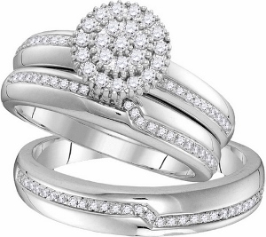 0.50 ctw Diamond Fashion Trio Set-- Gracefully crafted in 10K white gold enhanced with beautiful flower of round diamonds make this trio ensemble magnificent. Together, cherish your essence of love for a lifetime with diamonds totaling 0.50 CTW
