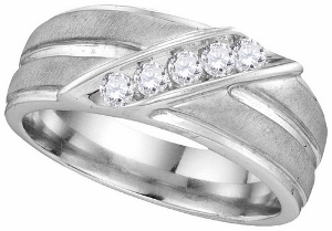 0.27 ctw Diamond Fashion Mens Band---A lifetime of happiness starts with sweet wedding vows. Seal your commitment to him with a 10 karat white gold wedding band that is just his style. Emitting pristine brilliance at the center, five round diamonds in an invisible-like setting totaling 0.27 ct. reflect light within the white gold band.