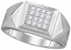 0.35 ctw Diamond Men Cluster Ring-- The brilliant center of this distinctive ring for him features a 0.35ct of round diamonds in a square frame. The diamond are put together in a 10 kt white gold band.