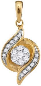0.19 ctw Diamond Fashion Pendant With 18 inch matching gold chain.