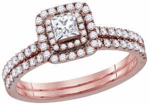 0.75 c.t.w Diamond Bridal Set in 10 Karat Rose Gold With 0.25 ct Center Princess Cut Diamond.
