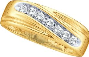 0.25 CTW ROUND DIAMOND MEN'S BAND -Seven round diamonds totaling 1/4ct. slant along 10 karat yellow gold, forming a handsome men's wedding band for the man whose love calls for bold expression. Celebrate your union with the brilliance and permanence only diamonds can provide