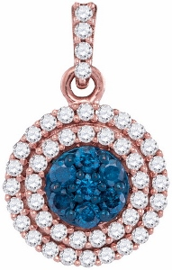 1/2 CTW Blue Diamond Fashion Pendant in 10 Karat Rose Gold with matching chain.