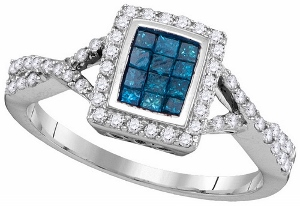 0.55 ctw Blue Diamond Fashion Ring.