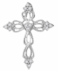 0.16 c.t.w Diamond Cross Pendant in 10 Karat White Gold.