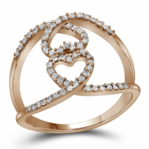 0.33 ctw Diamond Heart Ring in 10 Karat Rose Gold