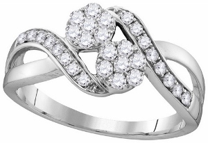 1/2 ctw Diamond Engagement Ring in 14 Karat White Gold