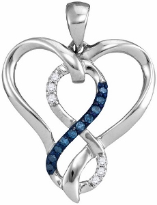 0.10c.t.w Blue Diamond Heart Pendant with chain.