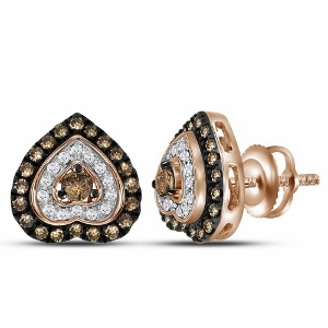 0.62 Diamond Fashion Heart Earrings in 10 Karat Rose Gold