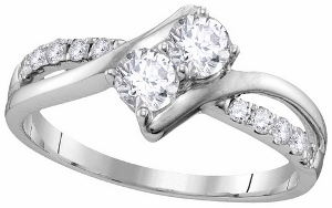 3/4 ctw Diamond Two-stone Diamond Engagement Ring in 10 Karat White Gold.