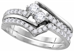 0.75 c.t.w Two Stone Bridal Set 14 Karat White Gold