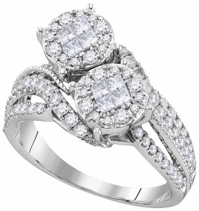 1 ctw Diamond Soliel Engagement Ring in 14Karat White Gold.