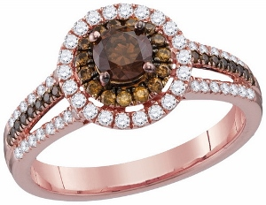 1 c.t.w Cognac Diamond Engagement Ring  in 14 Karat Rose Gold
