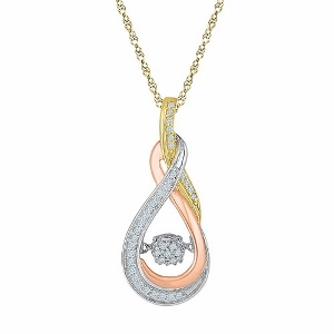 0.16 c.t.w Diamond Fashion Pendant in 10 Karat Yellow Gold with chain.