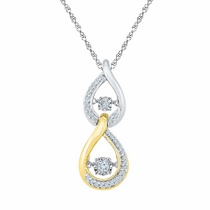 0.16 c.t.w Diamond Fashion Pendant in 10 Karat Two Tone Gold with chain