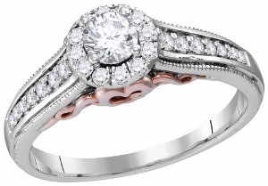 0.50 c.t.w Diamond Engagement Ring with 0.25 c.t.Center Round Diamond in 14 Karat Two Tone Gold