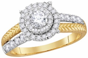 1.00 c.t.w Diamond Engagement Ring with 0.33 c.t Round Center Diamond in 14 Karat Yellow Gold.