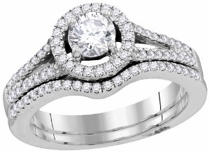 1 c.t.w Diamond Bridal Set with 0.50 c.t Center Round Diamond in 14 Karat White Gold