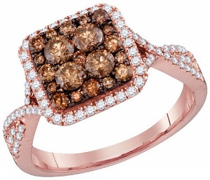 1 c.t.w Diamond Fashion Ring with Brown Diamonds in 14 Karat Rose Gold.