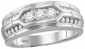 0.50 c.t.w Diamond Mens Band in 14 Karat White Gold
