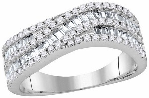 1.33 c.t.w Diamond Fashion Band with Round and Baguette Diamonds in a 14 Karat White Gold.