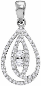 0.16 c.t.w Diamond Fashion Pendant in 10 karat White Gold with chain.