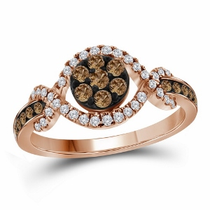 0.50 c.t.w Cognac Diamond Fashion Ring in 10 Karat Rose Gold