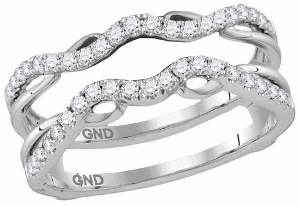 Diamond ring guard, also called ring wrap, with 1/3 Carat total weight sparkling round diamonds. Diamonds in this ring guard are set in 14 karat white gold. Ring also makes a good wedding ring or solitaire enhancer or solitaire insert.