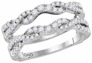 0.50CT Round Diamond Ladies Ring Wrap.Add beauty to your shimmering solitaire by wearing it with this attractive diamond ring guard. Diamonds of 0.50 ct. (Tw.) are prong setting in 14k white gold are the perfect outfit for your sparkling solitaire.