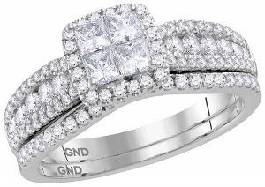 1.00 c.t.w Diamond Bridal Set in 14 Karat White Gold