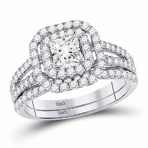 14k White Gold Princess and Round Diamond Bridal Wedding Ring Set 1-1/2 C.T.W with 0.50 CT Center Stone.