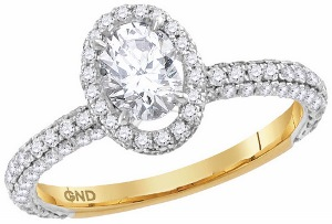 1.75 c.t.w Diamond Engagement Ring with 0.75 c.t Oval Center Diamond in 14 Karat Yellow Gold.