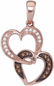 0.12 c.t Double Heart Diamond Pendant in 10 Karat Rose Gold With Chain.