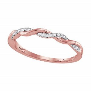 0.08 c.t.w Diamond Fashion Band in 10 Karat Rose Gold. Create the perfect layered look with stacked rings in different variety.