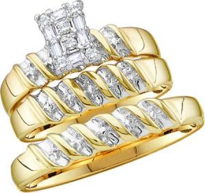 Diamond Trio Set - Diamond engagement and wedding ring set with 1/10 carat total weight diamonds set in 10 karat Yellow gold.