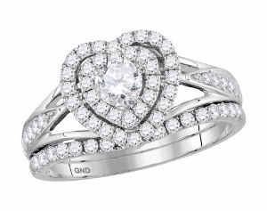 1.00 c.t.w Diamond Heart Bridal Ring with 0.33 c.t Diamond Center in White Gold