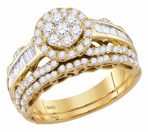 1.50 c.t.w Diamond Bridal Ring in 14 Karat Yellow Gold.