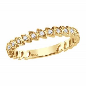 0.10c.t.w Diamond Fashion Band in 10 Karat Yellow Gold. Create the perfect layered look with stacked rings in different variety.