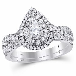 1.00 c.t.w Diamond Bridal Set with 0.33 c.t Center Pear Diamond in 14 Karat White Gold