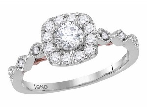 0.75 c.t.w Diamond Engagement Ring With 0.33 c.t Round Center in 14 Karat Two Tone Ring