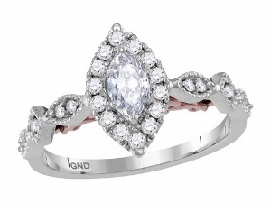 0.75 c.t.w Diamond Engagement Ring With 0.33 c.t Marquise Center in 14 Karat Two Tone Ring