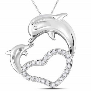0.16 c.t.w Diamond Heart Pendant in 14 Karat White Gold with chain