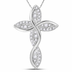 0.16 c.t.w Diamond Cross Pendant in 14 Karat White Gold with chain
