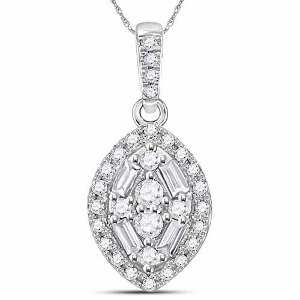 0.20 c.t.w Diamond Pendant in 14 Karat White Gold with 18 inch white gold chain.