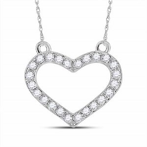 0.16 c.t.w Diamond Necklace in 10 Karat White Gold with chain.