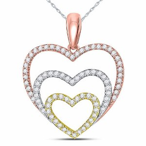 10kt Tri-Tone Gold Round Diamond Triple Nested Heart Pendant 1/3 Ctw