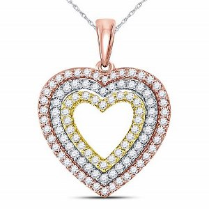 0.50 c.t.w Diamond Pendant in 10 Karat Tri Color Gold with matching chain.
