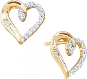 0.15CTW ROUND BAGG DIAMOND LADIES HEART EARRINGS - Dashing 10 karat yellow gold with sizzling displays of brilliant round diamonds and baguettes  (0.15 carat (ctw)) in fashioning earrings that should be worn with your fanciest dress.