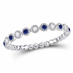10kt White Gold Women Round Blue Sapphire Diamond Beaded Dot Stackable Band